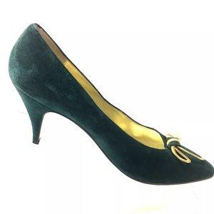 Shoes - Beltrami Womens Shoes Green Suede Pumps Gold